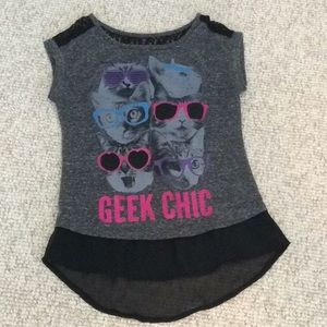 Hybrid Girls Geek Chic cat 🐱 shirt